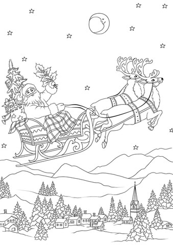Santa Flying with His Reindeers on Sleigh at Night