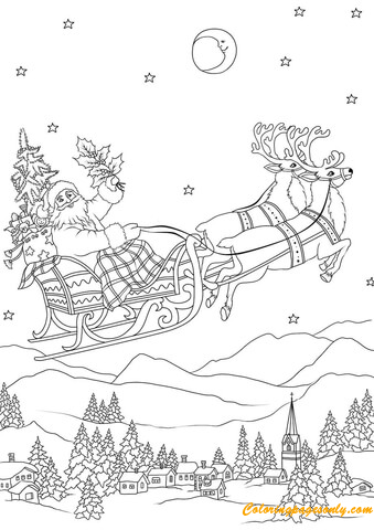 Santa Flying With His Reindeers On Sleigh At Night Coloring Page