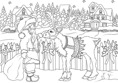 Santa Claus and Deer Christmas