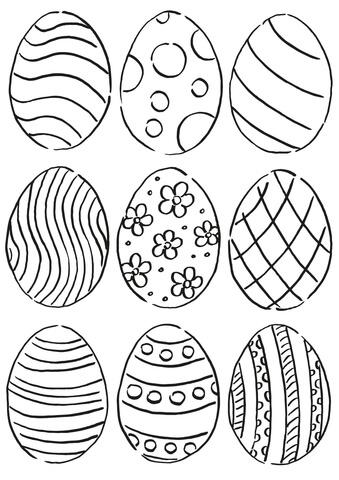 Unique Easter Eggs Coloring Page
