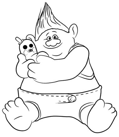 Biggie & Mr. Dinlkes From Trolls Coloring Page