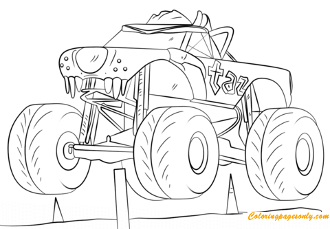 Bulldozer Monster Truck coloring page | Free Printable Coloring Pages | 333x480