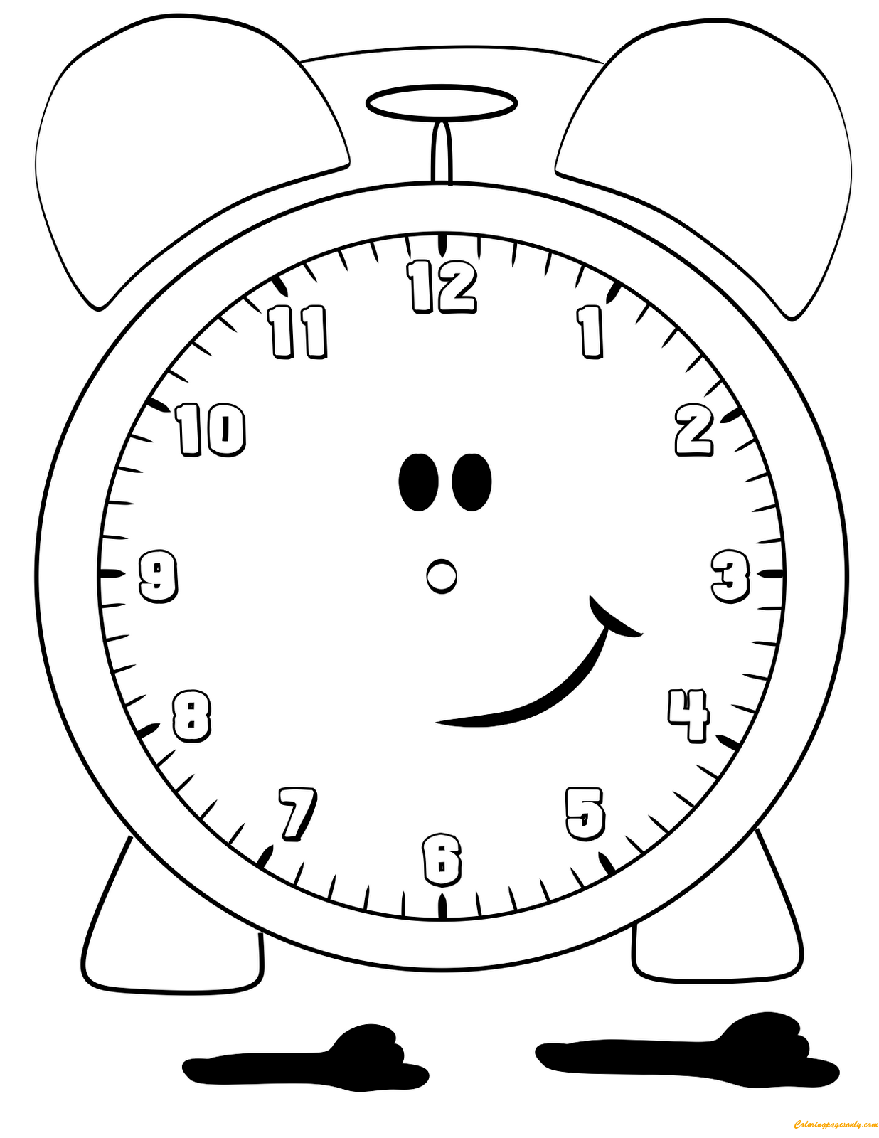 Lovely Alarm Clock Coloring Page