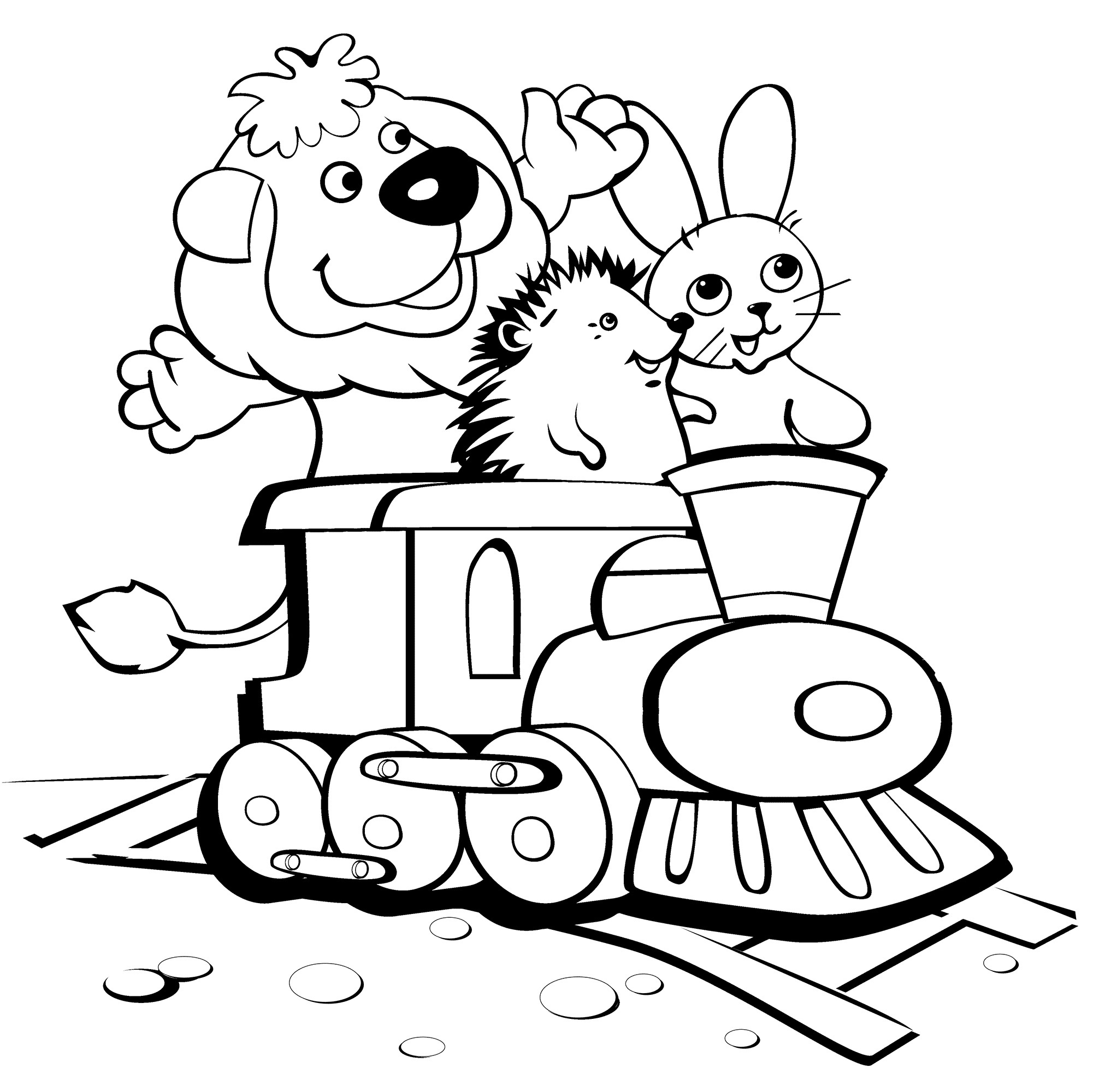 Lion, Hedgehog and Rabbit on the Train Coloring Page