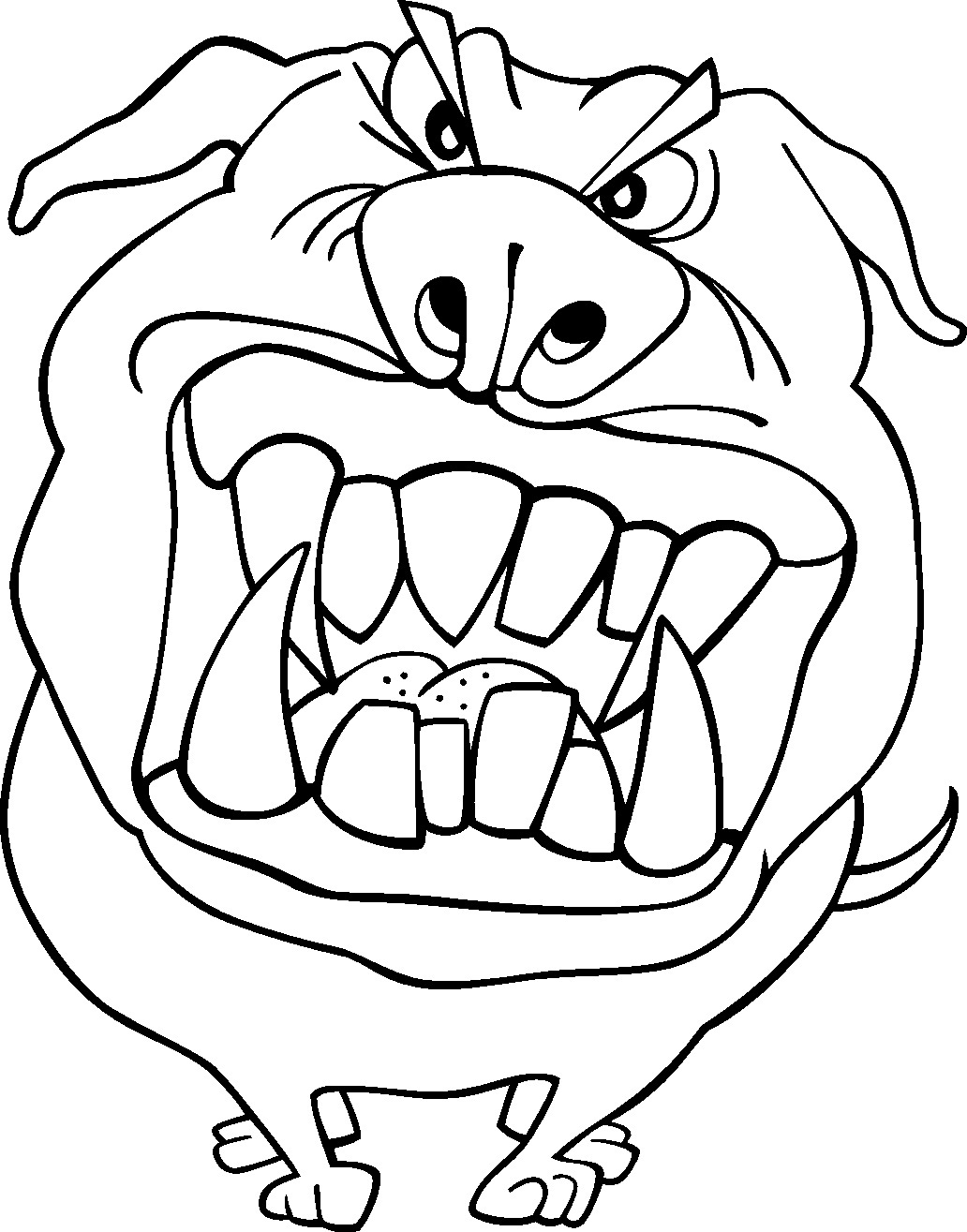 Funny Angry Dog Coloring Page