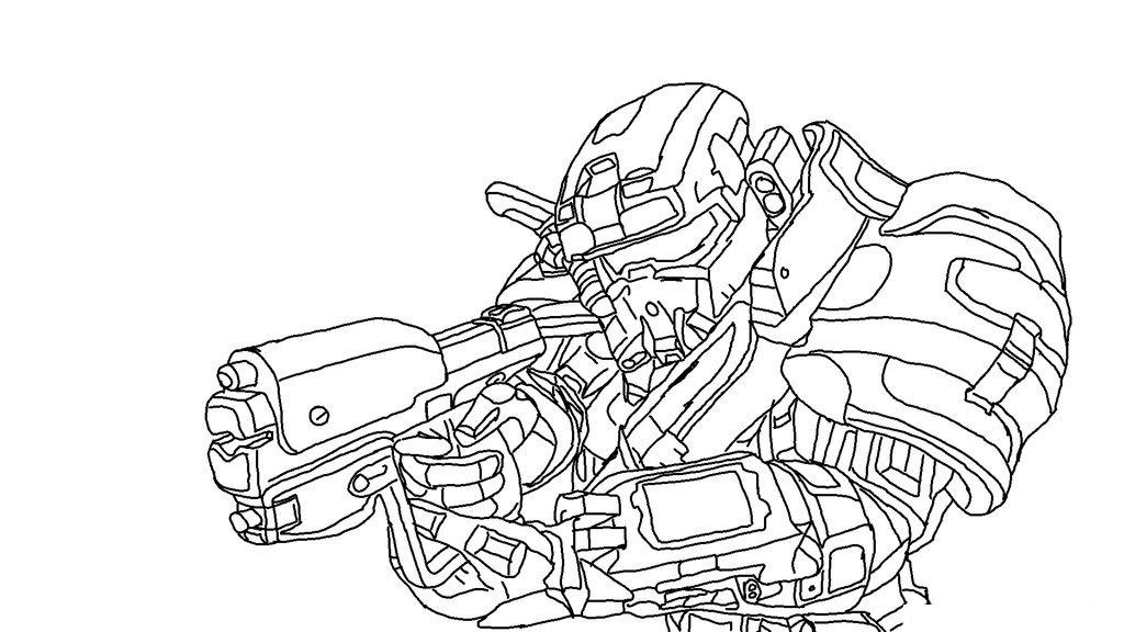 Halo Reach Spartan Fighting Coloring Page