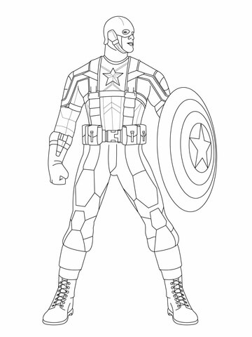 Superhero Captain America Getting Ready to Fight Coloring Page