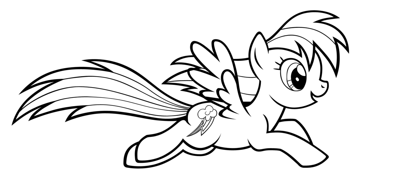 Rainbow Dash Running Coloring Page
