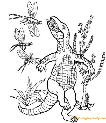 Thecodont And Meganeuras Coloring Page