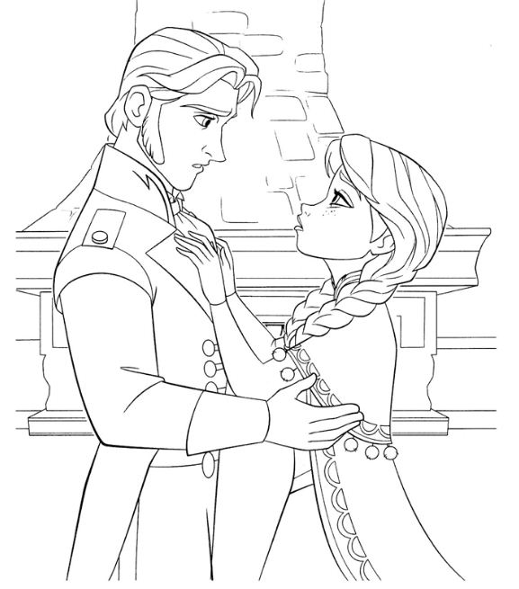 Hans Doesn't Kiss Anna To Save Her Coloring Page