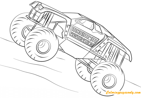 Maximum Destruction From Monster Truck Coloring Page