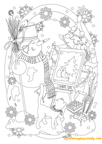 The Snowman Drawing Picture Coloring Page