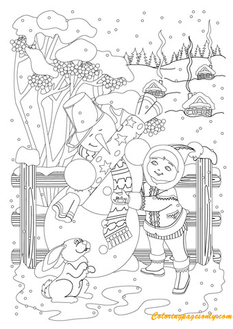 Snowman Receive A Gift Coloring Page