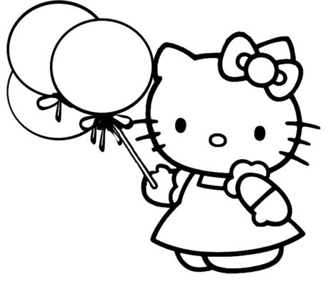 It's A Party With Kitty Coloring Page