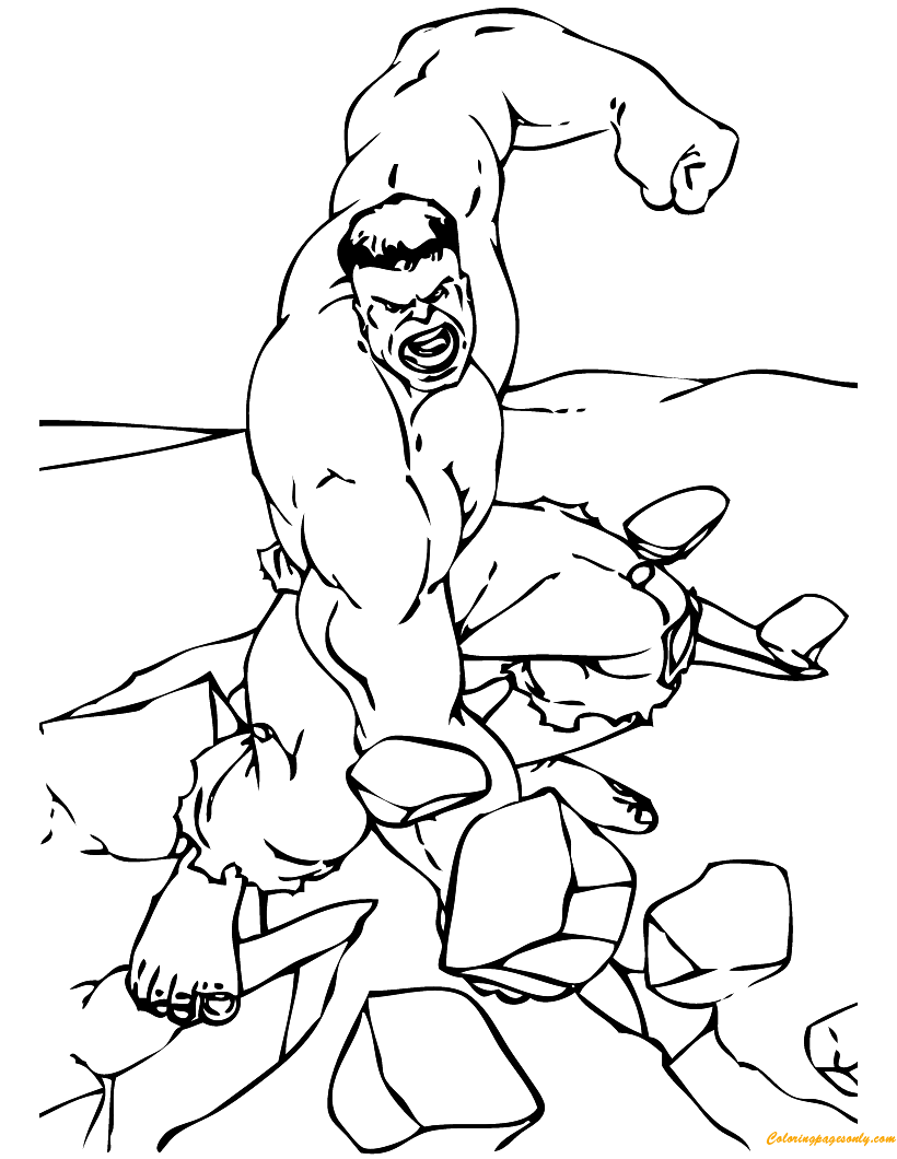 Hulk Breaking The Rocks Coloring Page