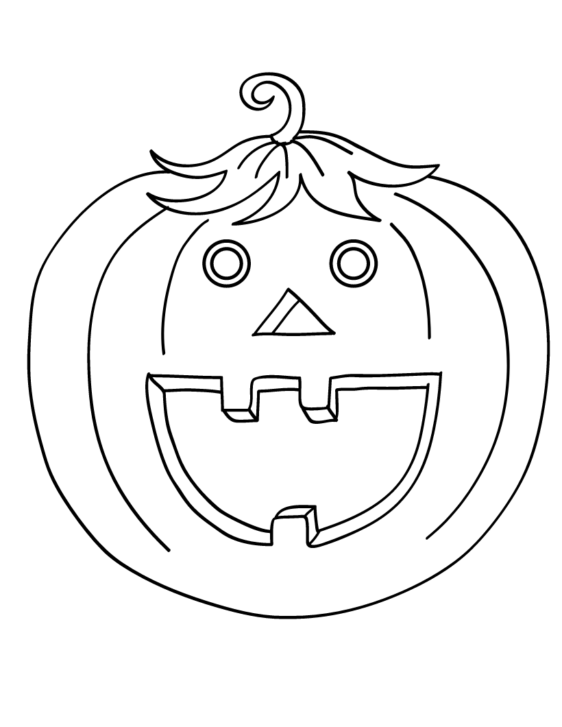Funny Lovely Pumpkin Coloring Page