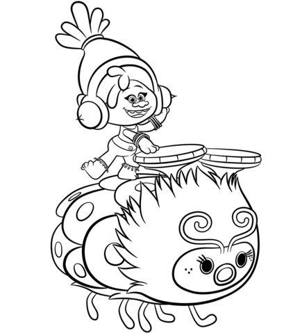 Dj Suki From Trolls Coloring Page