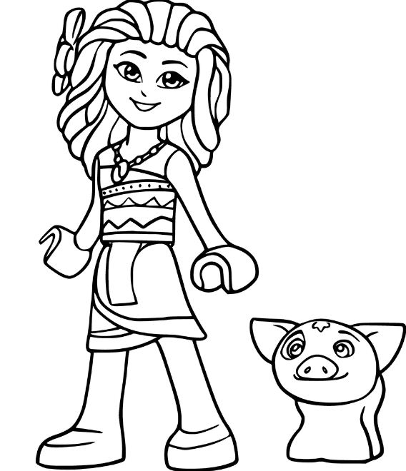 Lego Moana And Pig Pua From Disney Printable Coloring Page
