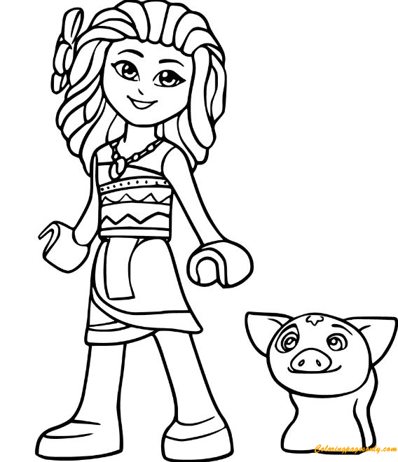 lego moana and pig pua from disney printable coloring page - Disney Printable Coloring Pages