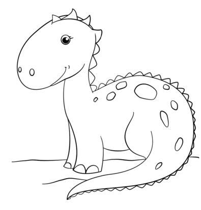 Cute Cartoon Dinosaur Coloring Page