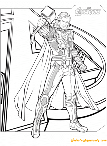 Avengers Thor With Hammer Mjolnir Coloring Page