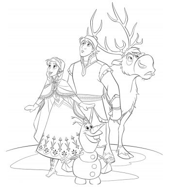 Anna, Kristoff, Sven and Olaf