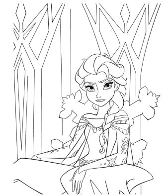 Elsa In The Ice Castle Coloring Page