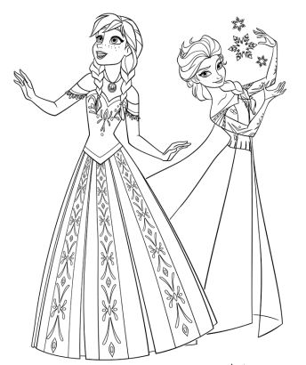 Two Princesses Of Arendelle Coloring Page