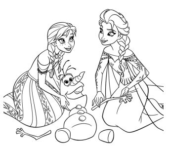 Anna And Elsa Rearranging The Snowy Parts Of Olaf's body Coloring Page