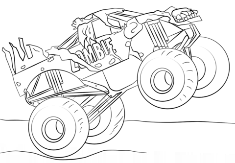 Monster Truck Zombie Coloring Page