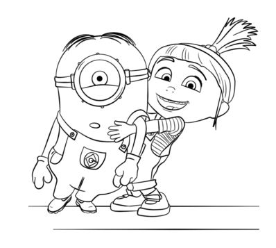 Agnes Gru And Minion Coloring Page