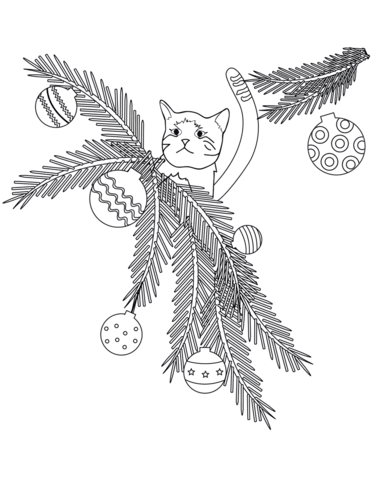 Cat on Tree Branches Christmas