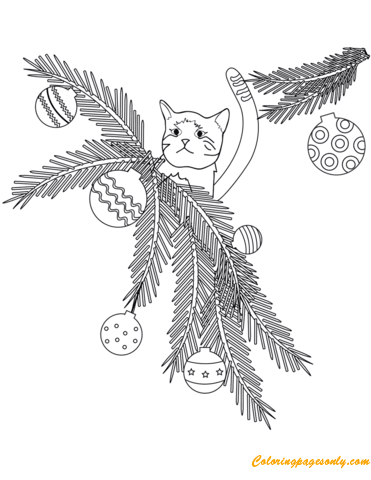 Cat On Tree Branches Christmas Coloring Page