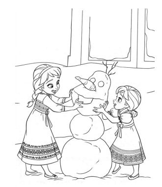 The Young Sisters Building A Snowman Together Coloring Page