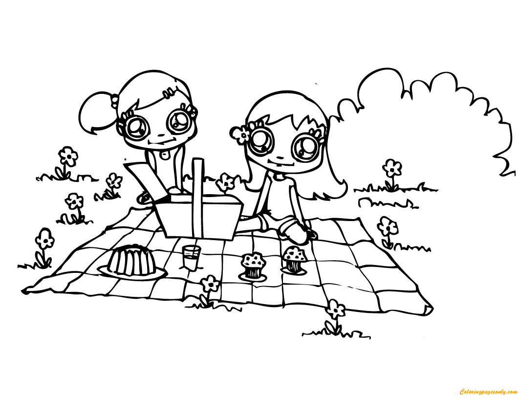 Two Cute Girls Having Picnic Coloring Page Free Coloring Pages Picnic Coloring Page