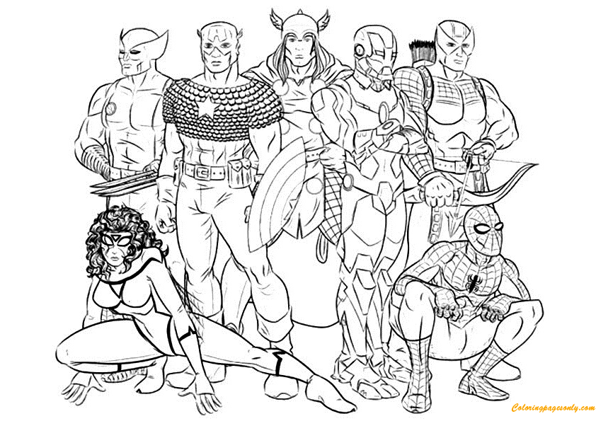 Avengers - Free printable Coloring pages for kids | 595x842