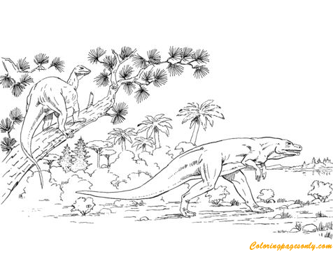 Megalosaurus And Hypsilophodon Coloring Page