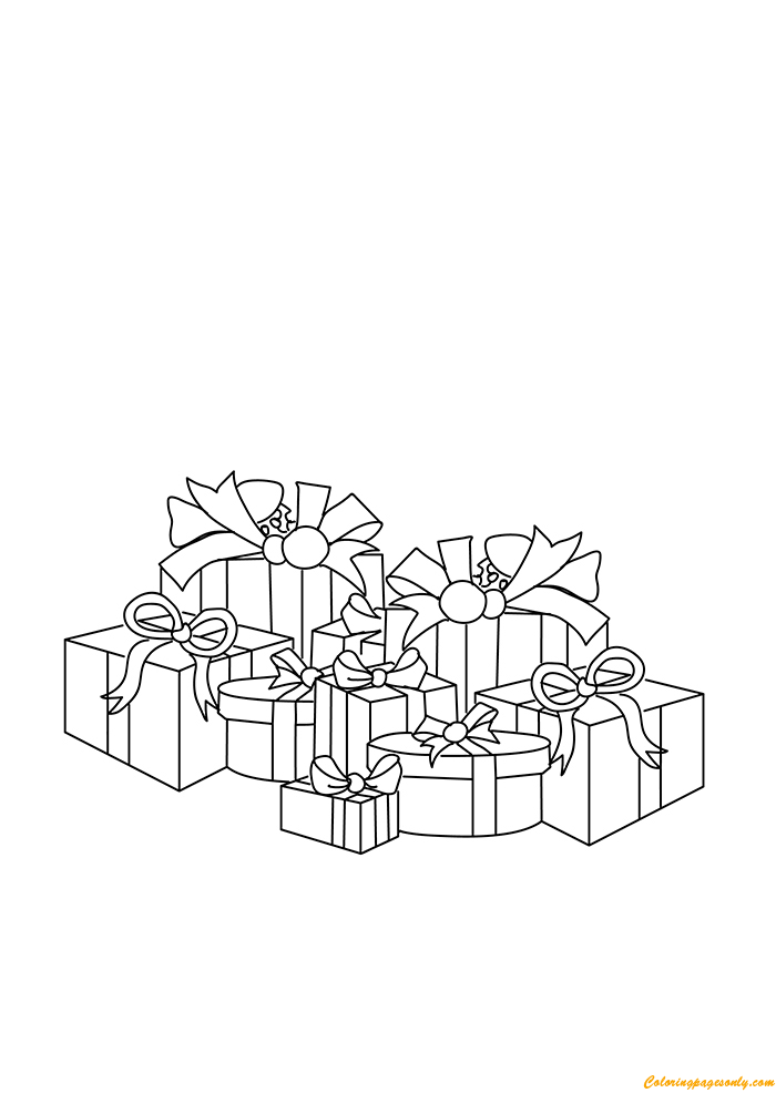 Preparing Christmas Gifts Boxes Coloring Page