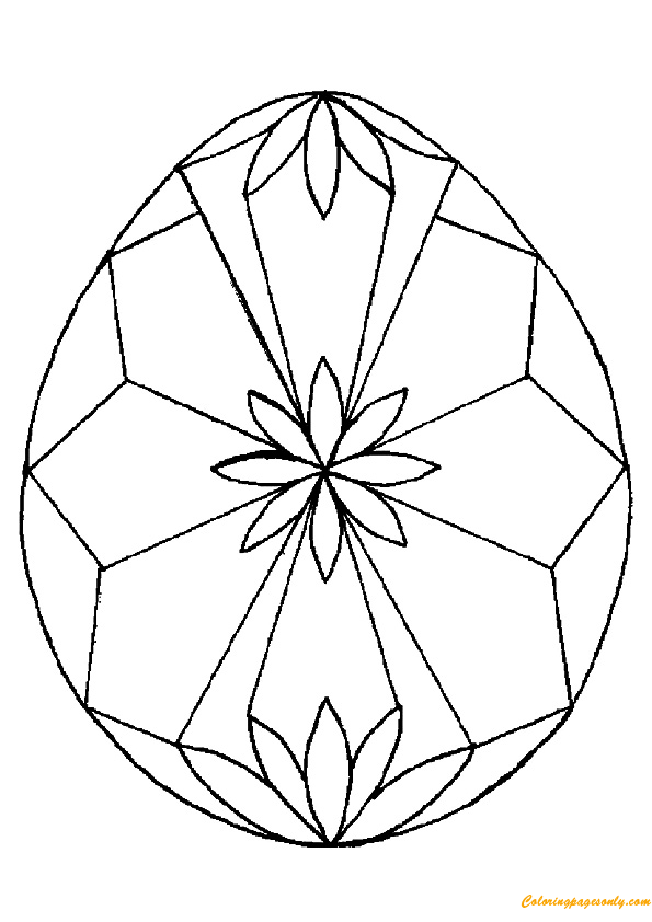 The Diamond Shape Egg Easter Coloring Page Free Coloring