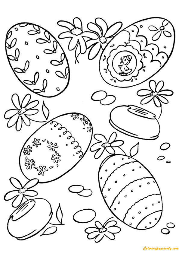 Easter Egg With Flowers Coloring Page Free Coloring Pages Online