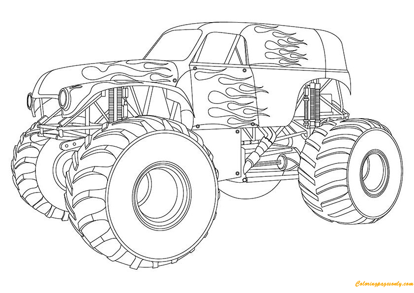 design maximum destruction monster truck coloring page
