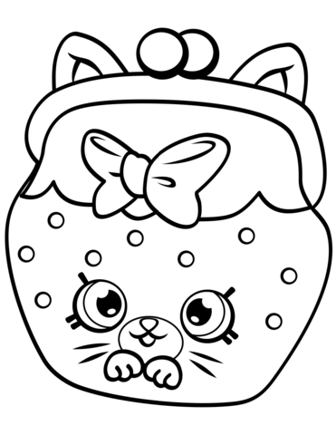 Petkins Cat Snout Shopkin from Season 4 Coloring Page