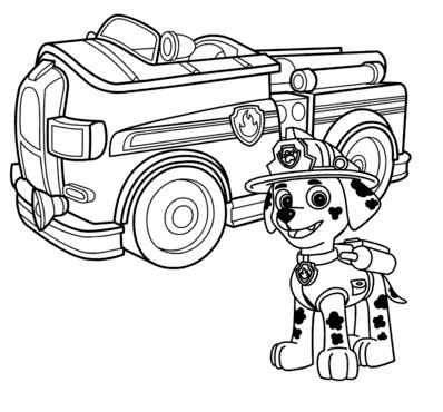 Paw Patrol Marshall With Fire Truck