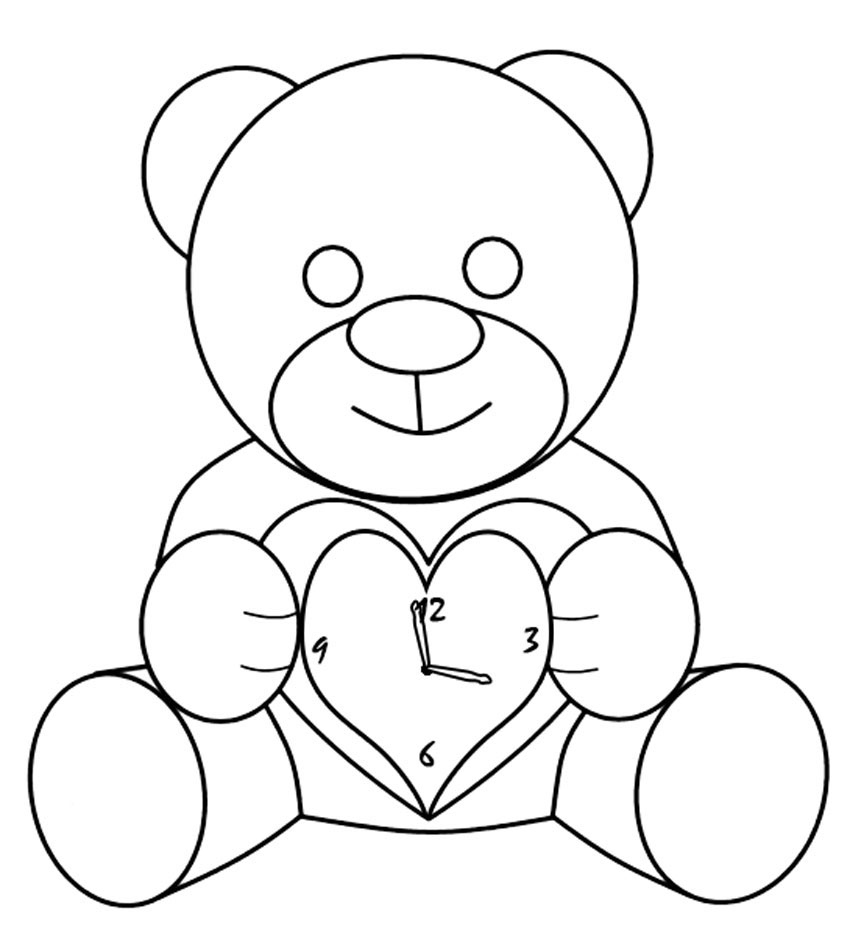 Teddy Bear Clock Coloring Page
