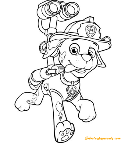 Paw Patrol Marshall With Water Cannon Coloring Page
