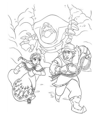 Anna and Kristoff running away from Marshmallow