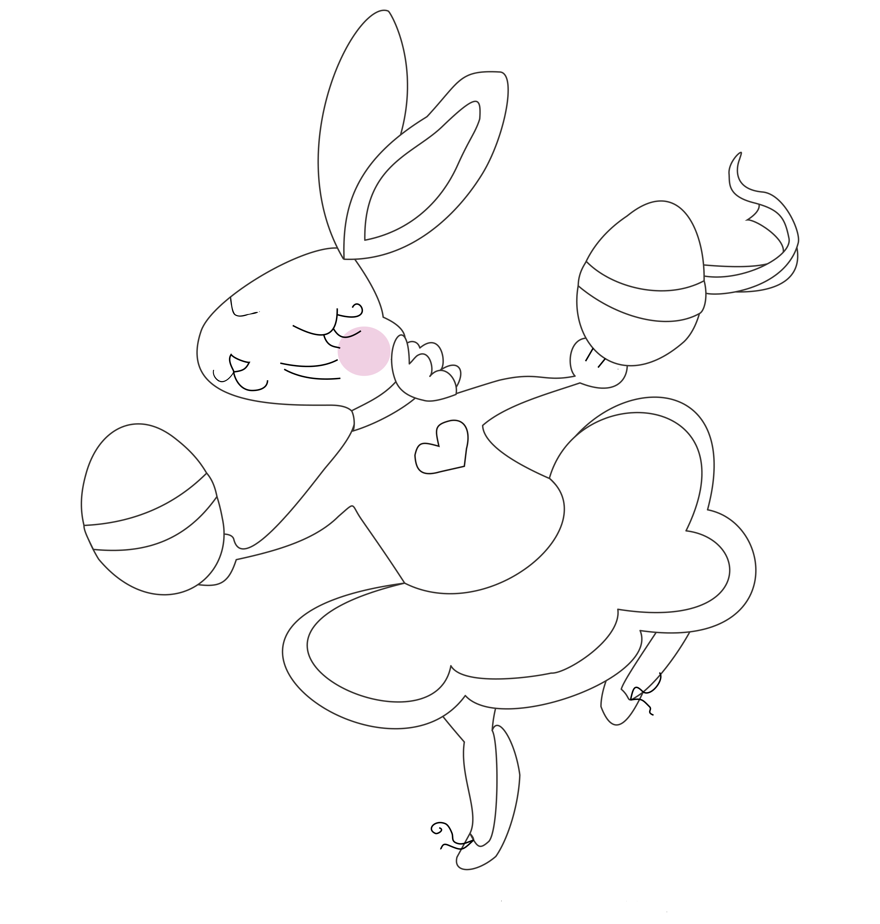 Bunny Dancing with Easter Eggs