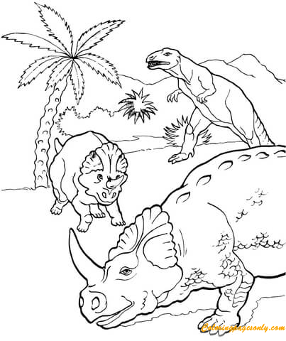 Allosaurus And Centrosaurus Coloring Page