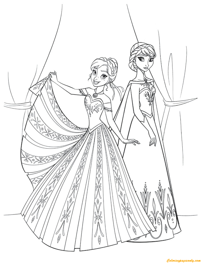 The Sisters Anna And Elsa Coloring Page