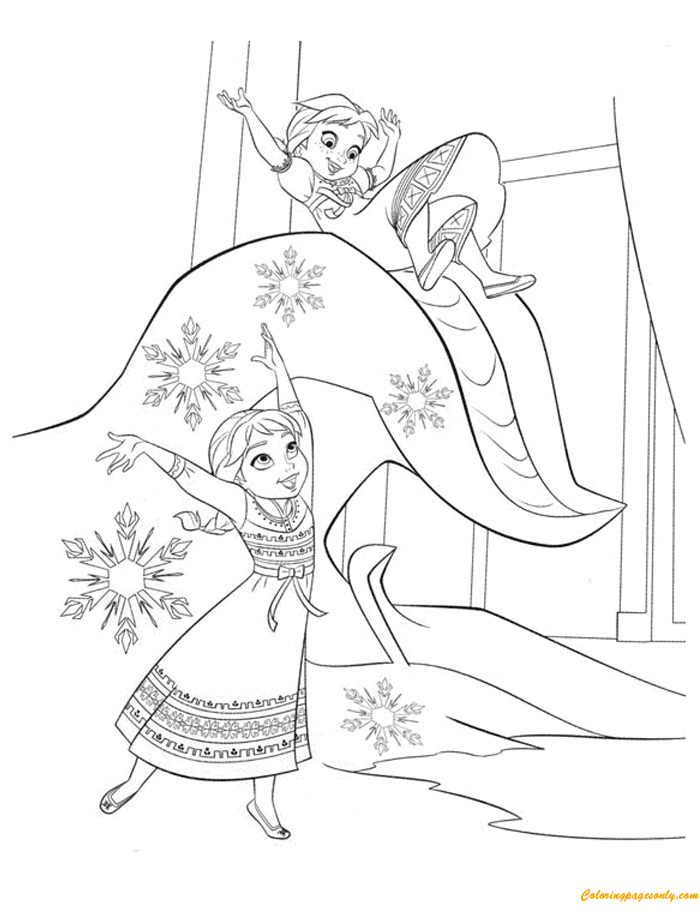 anna and elsa playing in a winter wonderland coloring page